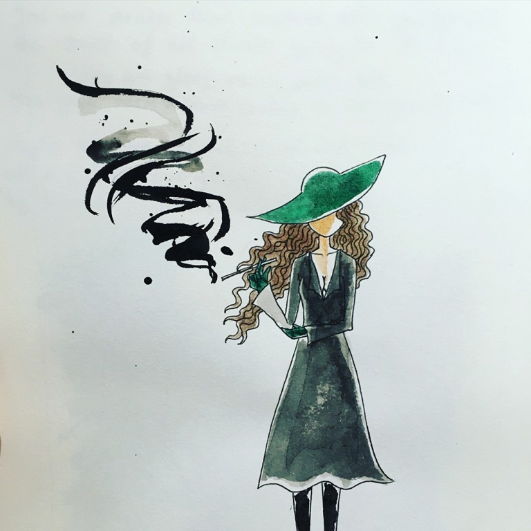 The woman with the green hat,